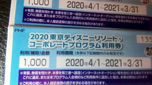 東京ディズニーリゾート コーポレートプログラム利用券 1000円×2枚 送料無料 ホテル宿泊や チケット代の割引に利用できます